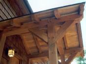 Porch of a modern timber-framed house