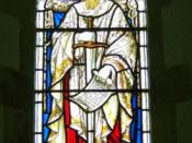 English: Stained glass window, The Church of St Peter and St Paul, Exton Saul was a Roman citizen and after his conversion, Saul is mentioned in the Bible by his Latin name, Paul.