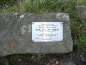 English: Ted Hughes Plaque Ted Hughes, Poet Laureate, was inspired to writ a poem, by an old photograph of six young men taken at this spot near Lumb Bridge. The photograph was of six young men taken just before the FIrst World War. Sadly all the young me
