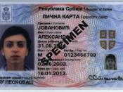 English: Obverse of Serbian national ID card Српски / Srpski: Prednja strana srpske biometrijske lične karte