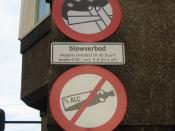 Two prohibition signs in Amsterdam (The Netherlands): smoking marijuana and drinking alcoholic beverages not allowed!