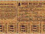 English: 300 dpi scan of a set of Basic Mileage Ration class A coupons for a 34 Plymouth.