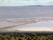 Photograph of a person standing in the middle of Robert Smithson's Spiral Jetty in rural Utah by Michael David Murphy