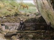 Man sitting on ruins, hand-colored glass slide by Harry Ward Foote, who accompanied Hiram Bingham to Machu Picchu, 1911