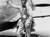 Col. Benjamin O. Davis Jr. Col. Benjamin O. Davis Jr., commander of the Tuskegee Airmen 332nd Fighter Group, in front of his P-47 Thunderbolt in Sicily.