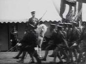 Soldiers parading before emperor Shōwa on imperial stallion Shirayuki