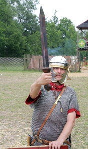 Re-enactor with Pompeii type gladius.