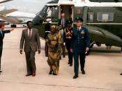 Prime Minister Robert Mugabe of Zimbabwe departs Andrews Air Force Base after a state visit to the United States