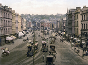 English: Patrick Street, Cork, Ireland Gaeilge: Tramanna ar Shráid Phádraig i gCorcaigh sna 1890í