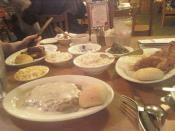 and then comes the main entrees: chicken fried steak, barbecue grilled chicken, and catfish