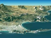 A Landsat image of Cape Town overlaid on SRTM elevation data. Elevation is exaggerated by a factor of two.