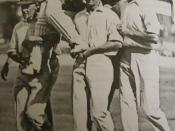 English: Don Bradman chaired from the ground after scoring his 452