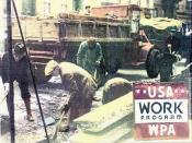 English: WPA poster 1935 USA, color photo