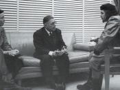Ernesto Che Guevara reunited with Simone de Beauvoir and Jean-Paul Sartre, in Cuba. 1960