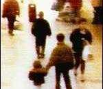 James Bulger before being kidnapped by Venables and Thompson (above Bulger).