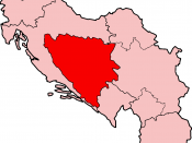 Map of Bosnia and Herzegovina under the Socialist Federal Republic of Yugoslavia