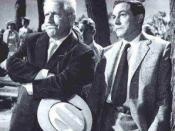 Mencken is fictionalized in the play Inherit the Wind as the cynical sarcastic atheist E. K. Hornbeck (right), seen here as played by Gene Kelly in the Hollywood film version. On the left is Henry Drummond, based on Clarence Darrow and portrayed by Spence