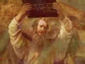 Moses with the tablets of the Ten Commandments, painting by Rembrandt (1659)