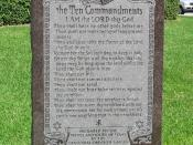 A Ten Commandments monument which includes the command to