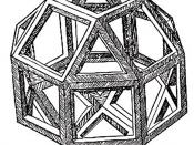 The first printed illustration of a rhombicuboctahedron, by Leonardo da Vinci, from De divina proportione.