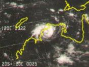 This picture shows Cyclone Tracy near landfall on Darwin, Australia in late December of 1974.