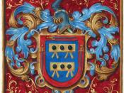 English: Coat of arms illustration from a grant of nobility from King Philip II of Spain to Alonso de Mesa and Hernando de Mesa. Digitized from a 19 page manuscript signed by the king. Français : Illustration d'un blasonnement pour l'anoblissement par Phi