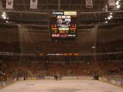 End zone view of the ice surface at the Verizon Wireless Arena.