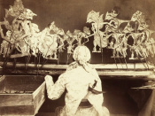 English: Wayang Kulit performance in Java, c. 1890