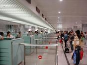 Passport check in the international terminal (August 2007)