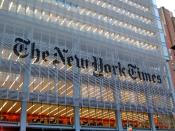 English: The New York Times building in New York, NY across from the Port Authority.