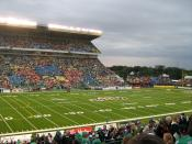 English: Photo of the field of Mosaic Stadium at Taylor Field from the University Side stands.