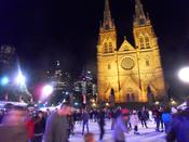 English: Public outdoor Ice Skating outside St Mary's Cathedral in Sydney, Australia