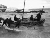 Launch of the James Caird from the shore of Elephant Island.