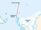 Rough image of the voyage of the James Caird: Elephant Island trip in green, South Georgia trip in red