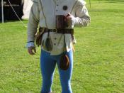 A man's Renaissance-era costume with tights. I am the photographer and subject.