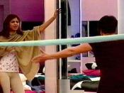 Shilpa Shetty (left) and Jade Goody (right) arguing in the Big Brother house.
