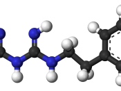 Ball-and-stick model of the phenformin molecule, an anti-diabetic drug of the biguanide class.