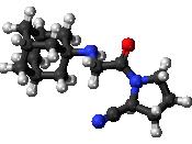 Ball-and-stick model of the vildagliptin molecule, an anti-diabetic drug. Colour code (click to show) : Black: Carbon, C : White: Hydrogen, H : Red: Oxygen, O : Blue: Nitrogen, N