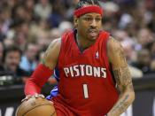 English: Allen Iverson, of the National Basketball Association's Detroit Pistons, during a 2008 basketball game against the Washington Wizards.