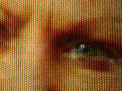 English: Close-up of an analog television screen, displaying the trichromatic composition of the image.