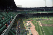 English: Batting practice at the Old Comiskey Park. 1986