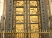 Gates of Paradise, Baptistery, Florence. The doors in situ are reproductions.