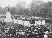 English: The unveiling of the General John Graves Simcoe monument at Queen's Park in Toronto.