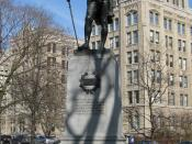 Statue of en:John Graves Simcoe at en:Queen's Park, Toronto, with Whitney Block in the background.