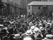 Emma Goldman addressing a crowd at Union Square, New York.