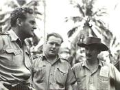 Milne Bay, Papua. 1942-09. Commanding Officers of famous RAAF squadrons. Left to right:- Wing-Commander J.R. Balmer, commanding No 100 Squadron, the first Australian Beaufort torpedo-bomber squadron to go into action; Squadron Leader