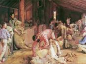 Tom Roberts' masterpiece, Shearing the Rams depicts an Australian shearing shed in the late 1800s