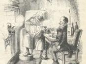 Scrooge and Bob Cratchit illustrated by John Leech in 1843