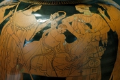 The child Herakles strangling the snakes sent by Hera (a woman protects Iphicles on the right). Detail from an Attic red-figured stamnos, ca. 480–470 BC. From Vulci, Etruria.