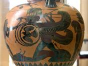 Heracles fighting with Geryon (dieing Orthrus and Eurytion on the ground). Chalcidian black-figured amphora from South Italy, ca. 540 BC.